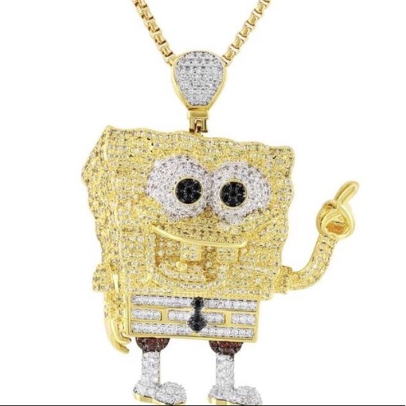 "4ed03beb6a0c2 Iced Out Pendant Spongebob Squarepants 24"" 3mm NWT"